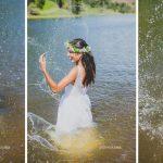 Casamento no campo: noiva fazendo trash the dress no lago. Foto: Clique Pausa.