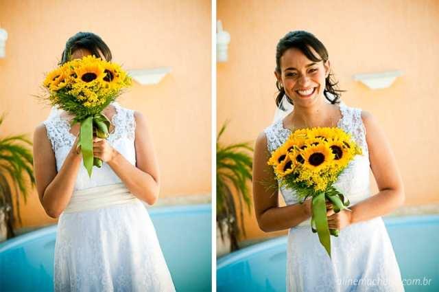 Buquê amarelo de girassol ou girassóis. Foto: Aline Machado.