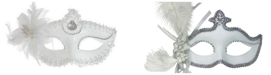Máscaras de carnaval venezianas brancas baratas para noivas usarem no casamento.