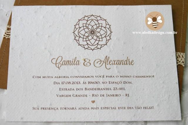 Convite de casamento Abelha Design: rústico com mandala.