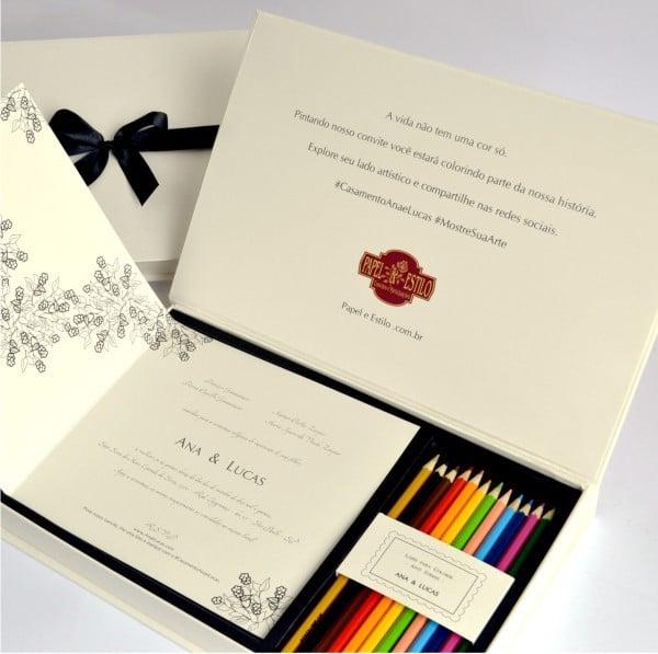 Convite de casamento para colorir. Da Papel & Estilo.