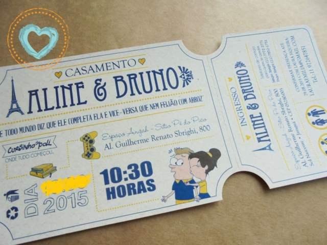 Convite de casamento nerd imitando um ingresso de cinema, com ilustrações de livros, flmes, games e all-strar. Da Catita Convites.
