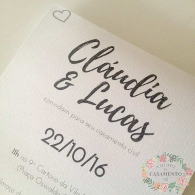 Convite de casamento civil. Foto: blog Planejando Meu Casamento.