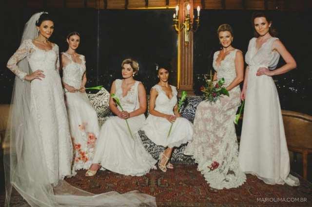 Vestidos de noiva da estilista Patricia Granha, do atelier Jardim Secreto, no evento Diga Sim no Terraço Itália. Foto: Mario Lima.