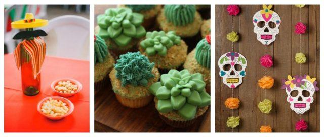 Decoração de festa mexicana com cupcakes de suculentas e cactus e0b0dee8b6e
