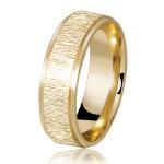 Aliança de casamento de ouro escovado. Foto: Lojas Rubi.