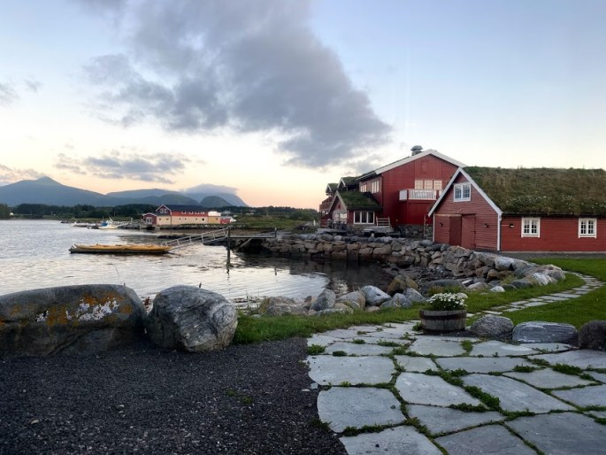 sunset at a hotel in norway while traveling in a pandemic