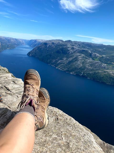 Pulpit rock overlooking norway fjord