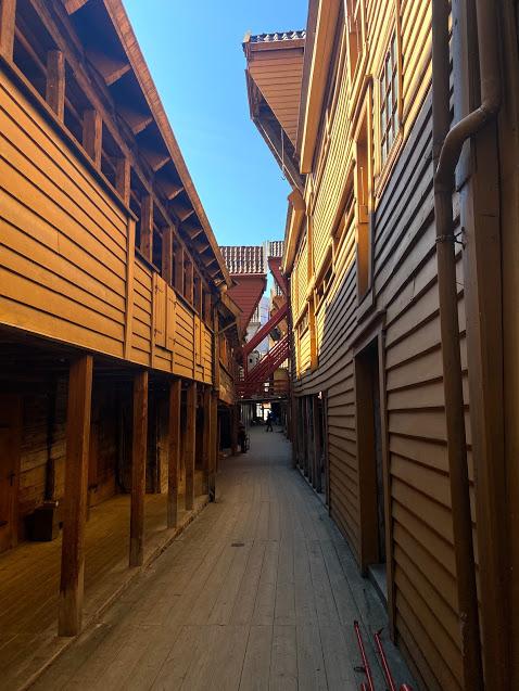Bryggen in Bergen, near Norway fjord