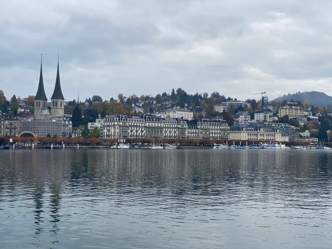 Lucerne Switzerland on a rainy day after arriving for our spontaneous switzerland trip