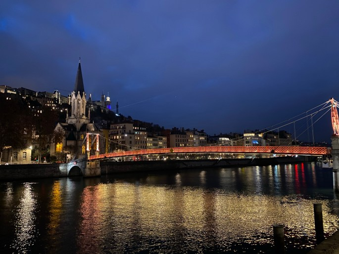 lyon, france at night
