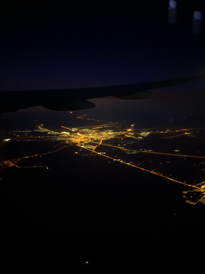 Flying over Dubai at night