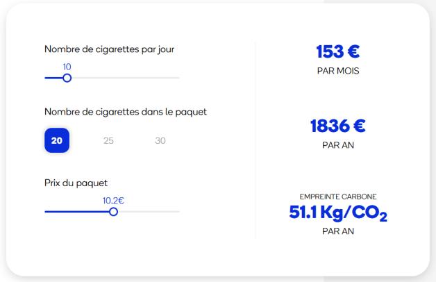 Calculateur budget cigarette/