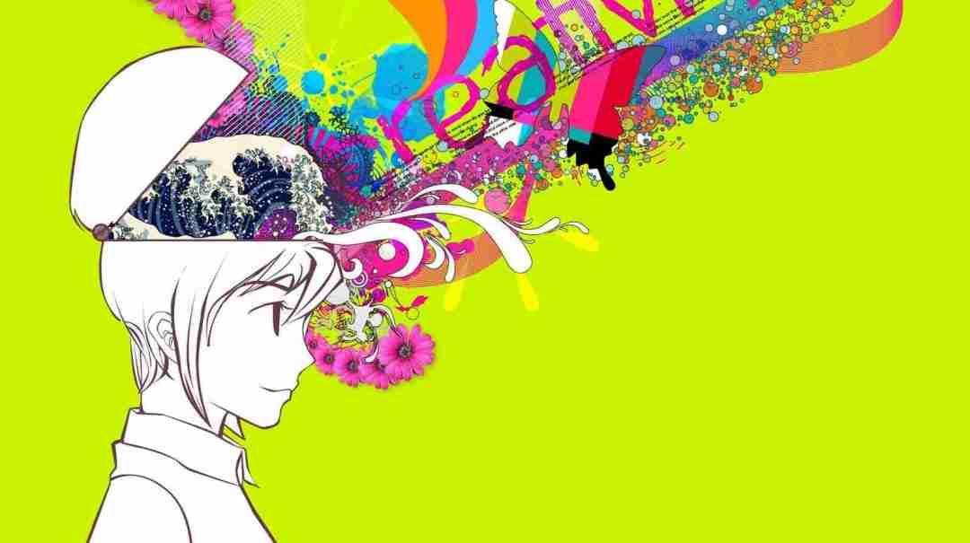 Mulher com a cabeça aberta saindo criatividade super colorida