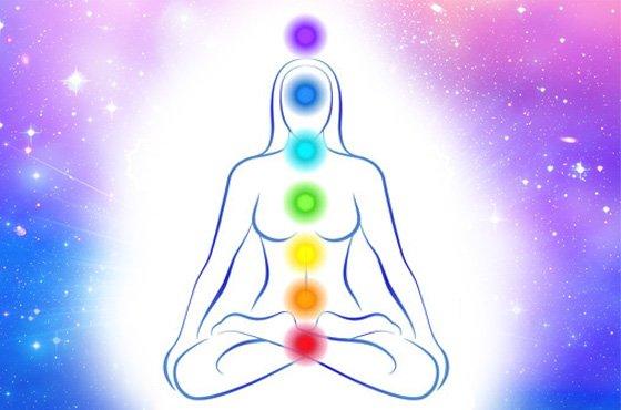 Silhueta sentada em meditação indicando no corpo a localização dos chakras, centros de energia, e as suas cores correspondentes.
