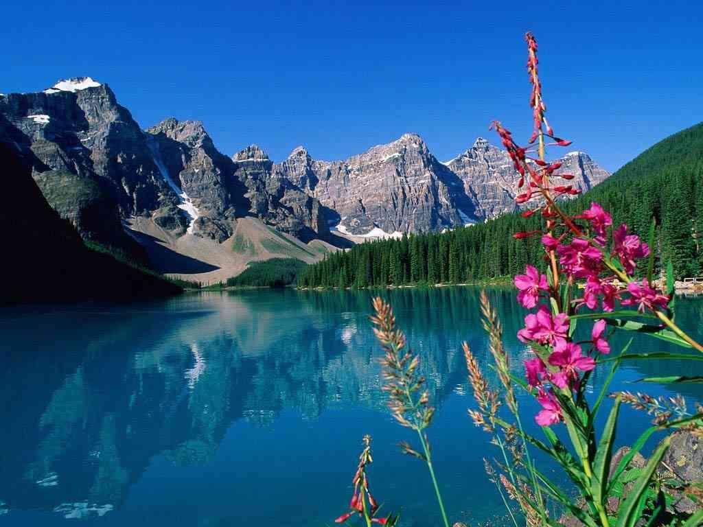 Uma linda cadeia de montanhas com um lago