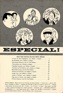 Terceira página do Almanaque dos Cômicos Famosos, com o índice das histórias.