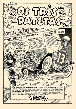 Primeira página da história O Carro Atômico, desenhada por Norman Maurer.