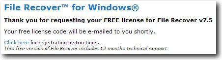 Solicitar una clave de licencia valida para PC Tools File Recover 7.5