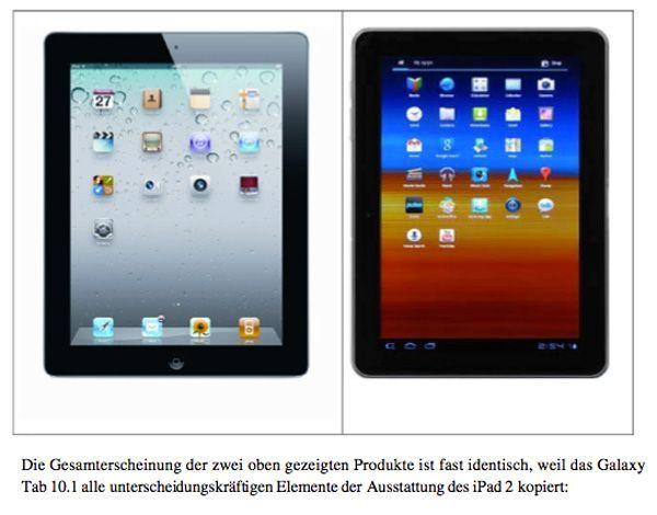 Imagen manipulada de un Samsung Galaxy Tab 10.1 frente al Apple iPad