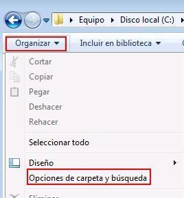 Extensiones de archivos en Windows 7