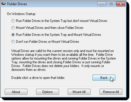Opciones de Folder Drives