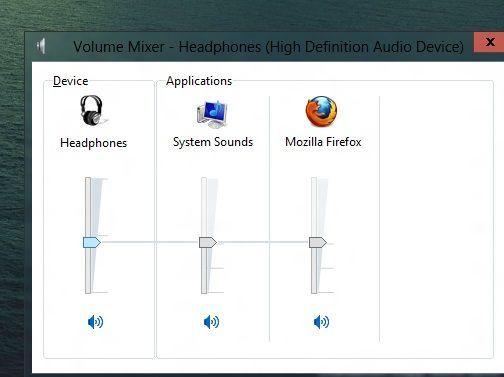 Mezclador de sonido de Windows 8