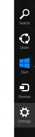 Charms bar de Windows 8