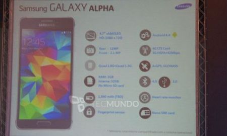 Todas las especificaciones del Samsung Galaxy Alpha confirmadas