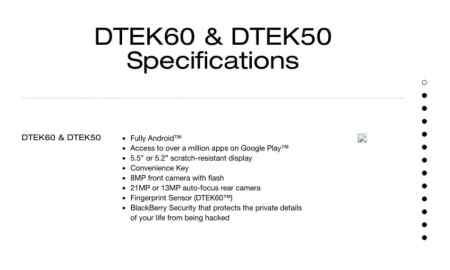 BlackBerry DTEK60 filtradas sus especificaciones