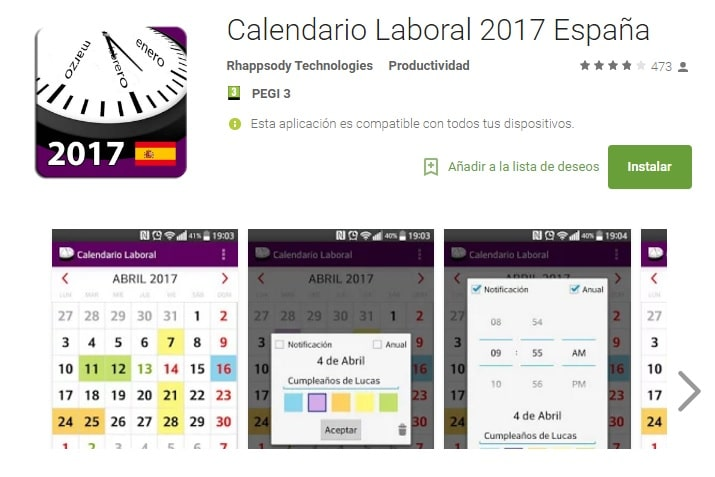 Calendario 2017 en Android (APK)