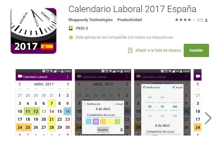 Calendario 2017 en Android (APK)