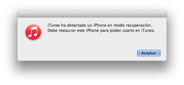 iphone modo recuperacion