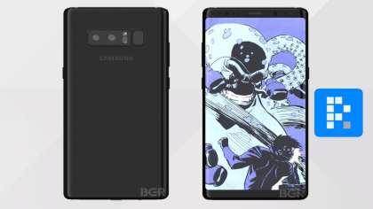 Samsung Galaxy Note 8 renders frontal y trasero