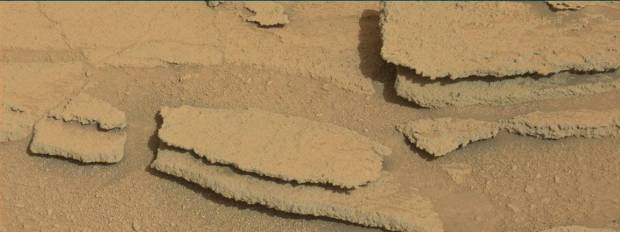 """Stepped"" rock slabs in Shaker on sol 313. Credit: NASA / JPL-Caltech"