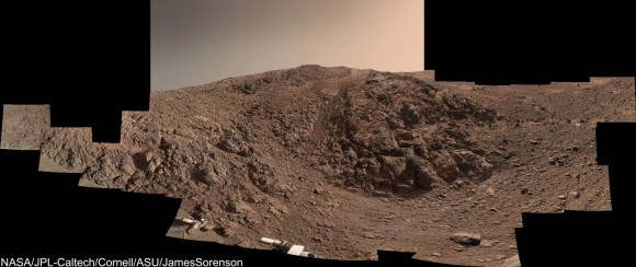 Panoramic view of Knudsen Ridge, where Opportunity has been climbing a steep 30 degree slope. Image Credit: NASA/JPL-Caltech/Cornell/ASU/James Sorenson