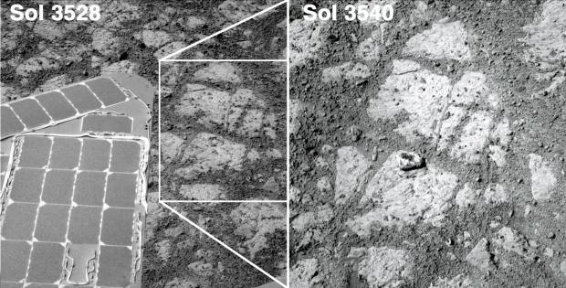 "Comparison image showing the before and after photos of the mystery rock ""Pinnacle Island."" The after image is the same patch of ground as in the inset box in the before image. Credit: NASA/JPL-Caltech/Jason Major"
