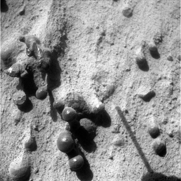 "Some of the ""newberries"" as seen by Opportunity on sol 3207. Click for larger view. Credit: NASA / JPL-Caltech."
