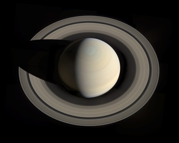 Saturn as seen from above by the Cassini spacecraft. Credit: NASA / JPL-Caltech