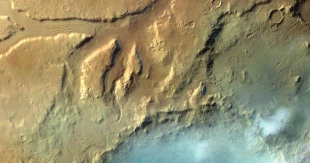 Clouds above Moreux crater in the Protonilus Mensae region. Click for larger version. Credit: ESA / G. Neukum (Freie Universitaet, Berlin, Germany) / Bill Dunford
