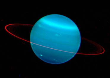 The two sides of the planet Uranus, as viewed in this composite image, by the Keck Telescope at near infrared wavelengths. These new images of the seventh planet from the sun promise to help scientists unravel the mysteries of the weather on Uranus. Used with permission by: UW-Madison University Communications 608/262-0067 Photo by: courtesy Lawrence Sromovsky/UW-Madison Space Science and Engineering Center. Date: 10/04 File#: scan provided