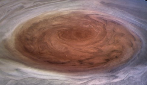 One of the first new images of Jupiter's Great Red Spot. Image Credit: NASA/JPL-Caltech/MSSS/SwRI/Kevin M. Gill