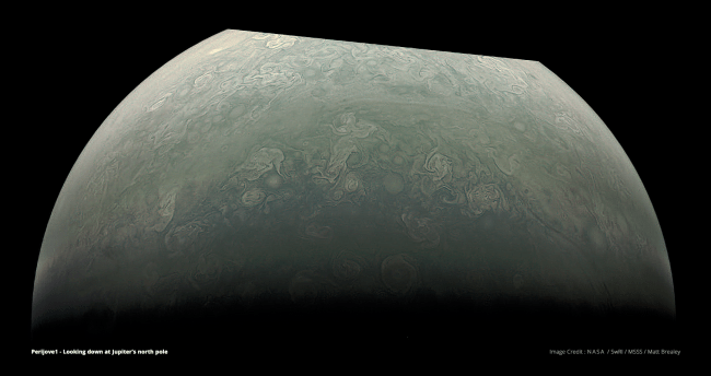 Partial view of Jupiter's south pole. Click image for larger version. Image Credit: NASA/SwRI/MSSS/Matt Brealey