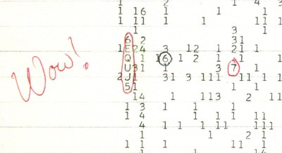 "The ""Wow! signal"" detected in 1977 but never heard again. Image Credit: Big Ear Radio Observatory/North American AstroPhysical Observatory (NAAPO)"