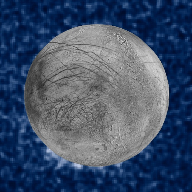 Composite image showing the possible water vapor plumes near the south pole of Europa, at about the 7 o'clock position. The image of Europa, from the Galileo and Voyager missions, is superimposed on the Hubble data. Image Credit: NASA/ESA/W. Sparks (STScI)/USGS Astrogeology Science Center