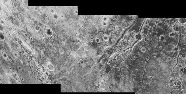 Closer view of huge faults on Pluto, providing evidence for tectonic activity and a liquid water ocean beneath the ice crust. Photo Credit: NASA/JHUAPL/SwRI