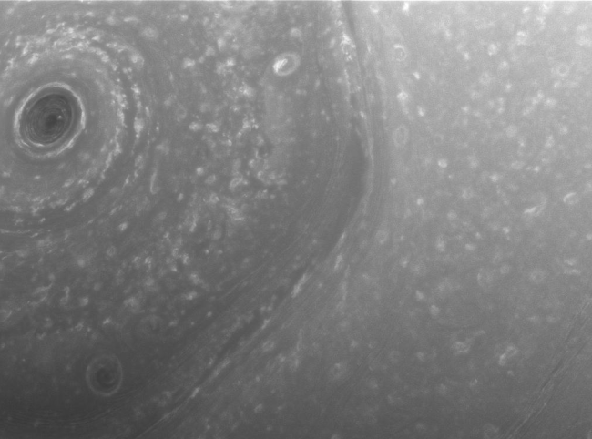 """Saturn's northern hemisphere up close: new image taken by Cassini on Dec. 3, 2016, showing small details in the turbulent atmosphere, including one corner of the """"hexagon"""" with central cyclone. It was taken at a distance of about 240,000 miles (390,000 kilometers) from Saturn. Photo Credit: NASA/JPL-Caltech/Space Science Institute"""