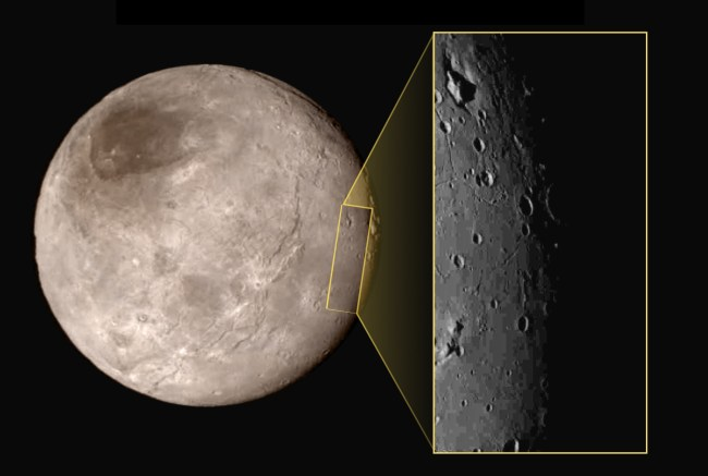 "One of the most unusual features on Charon is the ""mountain in a moat,"" a large mountainous block sitting inside a depression in the surface (upper left of inset image). Image Credit: NASA/JHUAPL/SwRI"