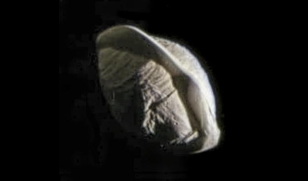 """Saturn's tiny moon Pan, which orbits inside the Encke Gap of the rings. A thin """"skirt"""" or ridge of material surrounds the moon's equator, giving it a """"ravioli"""" or """"dumpling"""" appearance. Photo Credit: NASA/JPL-Caltech/Space Science Institute/Ian Regan"""