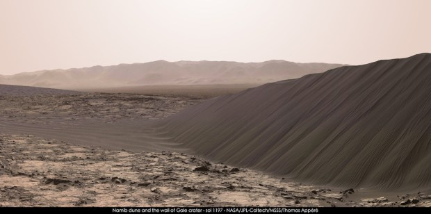 A stunning view of Namib Dune as seen by the Curiosity rover. Image Credit: NASA/JPl-Caltech/MSSS/Thomas Appéré